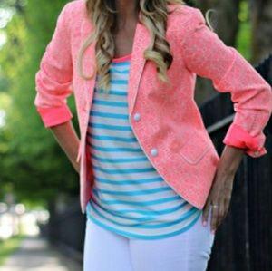 GAP Geometric Jacquard Academy Blazer in Neon Pink
